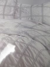 DKNY 3pc Shabby White Gray Ruched Checked Plaid Duvet Cover Set - Full/Queen
