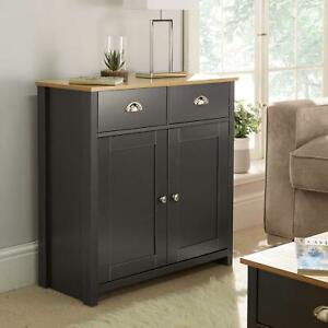 Langdale Graphite Oak Sideboard 2 Door 2 Drawer Storage Cupboard Metal Handles