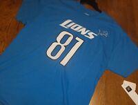 Mens L DETROIT LIONS CALVIN JOHNSON #81 BLUE SHIRT T-SHIRT MEGATRON