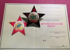 "RUSSIAN AFGHANISTAN MEMORABLE ORDER ""VETERAN OF AFGHAN WAR 1979-1989"" +DOCUMENT"