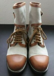 See By Chloe Caramel Leather & Canvas Boots Women US 9.5 /39.5