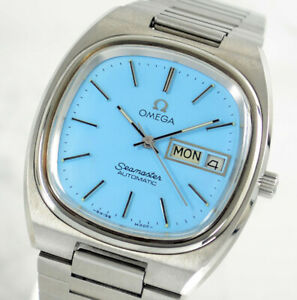 VINTAGE OMEGA SEAMASTER AUTOMATIC CAL1020 DAY&DATE SKY BLUE DIAL MEN'S WATCH
