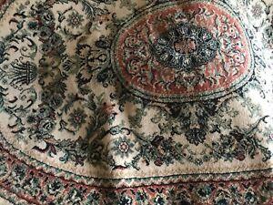 Organic hand-woven carpet rug pastel cream pink green multi wool, art exhibition