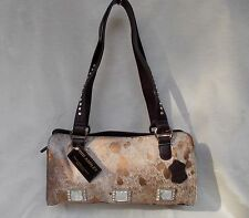 New Women's Ohh Ashley Genuine Hair Leather Tote with Crystals Bronze