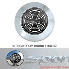 "Chrome 1 1/2"" Round Adhesive Emblem - Car Truck SUV Motorcycle - IRON CROSS B/W"