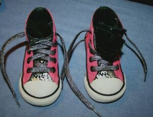 Converse 4  Baby Sneakers Bright Pink/Black Colors High Top Sneakers