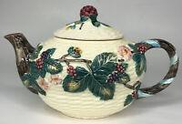 "Vintage Haldon Group Teapot 6"" Basket Weave Earthenware Berries Pink Floral 1988"