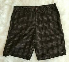 O'Neill Men's Shorts Brown Plaid 38 Long Bermuda Skater Flat Front Pockets EUC