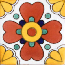 #C107) Mexican Tile sample Ceramic Handmade 4x4 inch, GET MANY AS YOU NEED !!