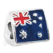 Australian Flag Australia Trip Red Blue Enamel Triangle Charm for Euro Bracelet