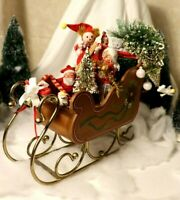 Vintage George Good Music Box Wood & Brass Sleigh - plays Silver Bells