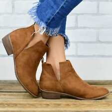 Womens Fashion Round Toes Flats Heel Casual Suede Ankle Boots Shoes Solid