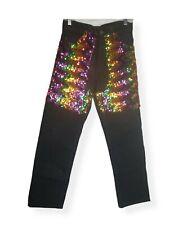 Vintage USA Made Levi's 505 29x30 Black Jeans Pride Month Sequin Chaps Rainbow