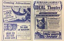 Bardot PIT & THE PENDULUM Sinatra vintage 1961 handout Ideal Theatre Hampden MD