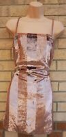 STRAPPY DUSTY PINK VELVET GLITTER SLIP SLEEVELESS TUNIC CAMI PARTY MINI DRESS XS