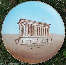 Grand ancien plat porcelaine de Nimes signé XIXe? La maison carée style Paris