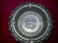 """ALL AMERICAN RIDER MOTORCYCLE THEMED ASHTRAY BIKE CHAIN CYCLE CROSS  METAL 4"""""""