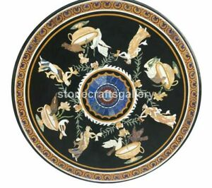 Black Marble Dining Table Top Inlay Marquetry Floral Art Bird Hallway Decor B231