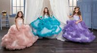 ABAO Children's Girls' Floor-Length Elegant Ruffle V-Back Tulle Ball Gown Dress