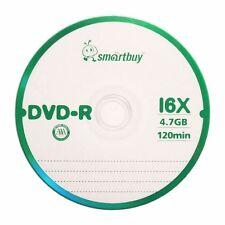 10 Pcs Smartbuy DVD-R 16X 4.7GB Logo Top Blank Record Disc w/ 10 paper sleeves