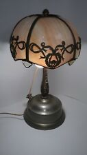 Leaded and Slag Caramel Glass Lamp A G Kaufman Powerlamp Antique Table Lamp