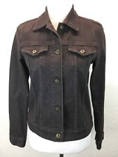 #S32 Theory Sz M Brown Cotton Denim Jean Jacket Made In USA Buttons Pockets