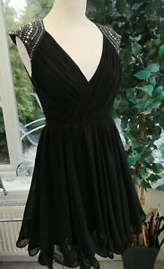 Lipsy VIP Fluted Jewelled BU Dress (Size 8) VP00124 Good with small repair