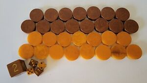 Backgammon Lot of 30 Bakelite Checkers+ Dice Doubling Cube Butterscotch Brown
