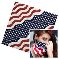 Cotton American Bandanas USA Stars Stripes Patriotic Hair Head Neckscarf Scarf