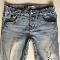 LADIES SUPERDRY RILEY GIRLFRIEND FIT RIPPED BLUE JEANS SIZE W26 L32  (hj307)