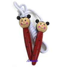 Kids LADYBUG Wood Skipping Jump Rope Wooden Toy Party Favor Supply Fitness