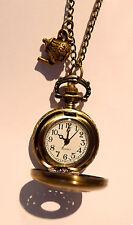 Reloj De Bolsillo Tetera Vintage Oro Collar Reloj De Bronce Joyería-británica de té