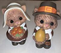 Vintage Hallmark Pilgrim Squirrel Chipmunk Salt & Pepper Shakers Thanksgiving