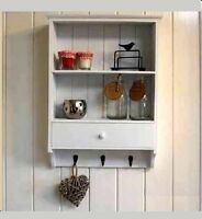 VINTAGE WOODEN SHELF UNIT WITH DRAWER & 3 KEY HOOKS WALL MOUNTED STORAGE WHITE