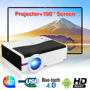 Wireless WiFi Projektor HD Android Blue tooth Heimkino HDMI*2 Freier Bildschirm