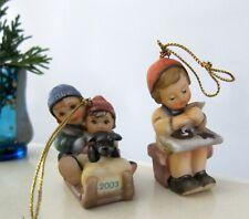 2 Bertha Hummel Ornaments Away We Go Girl & Present Teddy Bear Surprise Goebel