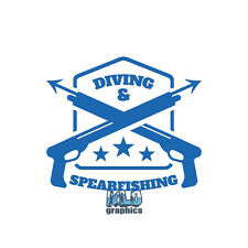 DIVING and SPEARFISHING Vinyl Sticker Design Scuba Hunter Outdoors Underwater
