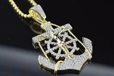 Mens & Ladies Silver Yellow Gold Finish Jesus Anchor Cross Pendant With Chain