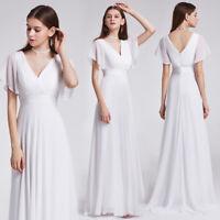 Ever-Pretty US Plus V-neck Bridesmaid Dresses Maxi White Long Evening Gown 09890