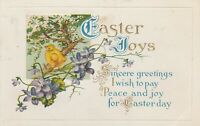Vintage Postcard Easter Joys Chick Violets 1915 Embossed