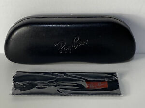 """Black Ray Ban Glasses Hard Shell Case 6"""" With New Cleaning Cloth"""