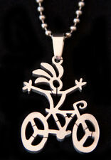 Victory Bike Pendant-stainless steel matte finish charm FREE beaded chain