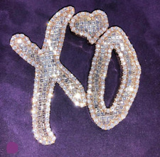 2.5 Inch Width XO Name 925 Sterling Silver Customized CZ Pendant