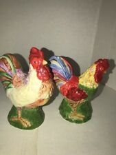 Rooster Chicken Salt & Pepper Shaker Set Ceramic  Multicolor