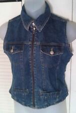 Vintage Jw Junction West 1990s Stonewash Denim Zip Front Jeans Vest Sz Med