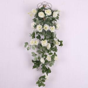 Silk Rose Hanging Bracketplant Decor Artificial Flower Wedding Use-White