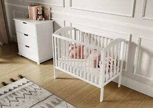 White Tobie Cot Baby Mini Cot Space Saver Cot Compact Cot + Mattress 100x50x10cm