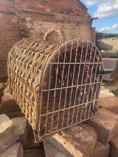 Vintage Wood Wicker  CAt Dog Pet Basket Carrier Free Pp