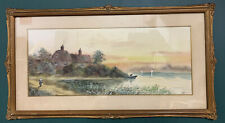 Antique Victorian Watercolour Painting In Gold Gilt Frame, Signed