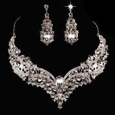 para novia LA REINA Brillante Collar pedrería Pendientes Conjunto de joyas